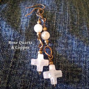 Genuine Rose Quartz Cross + Copper Dangle Earrings
